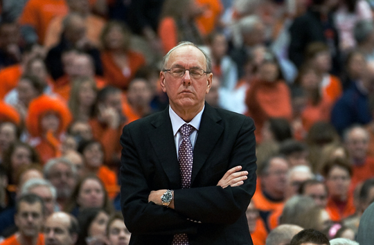 Syracuse Orange head coach Jim Boeheim reacts to his team's performance against the Louisville Cardinals on Sunday, February 14 in the Carrier Dome. Syracuse lost to Louisville 66-60.  I ©2010_Zach Ornitz/TheNewsHouse.com